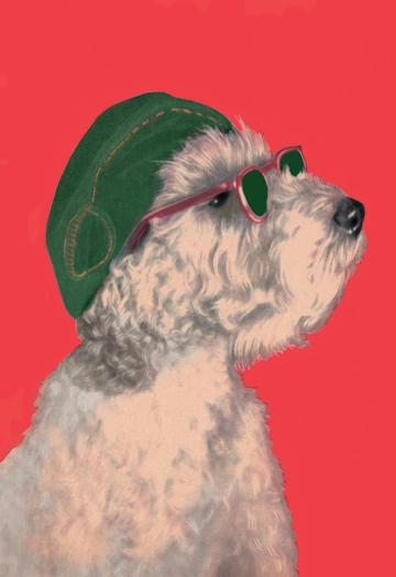 Dog with Glasses and Hat 12x18 Giclee On Canvas