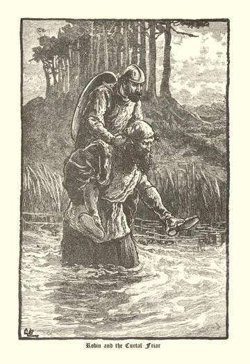 Robin Hood and the Curtal Friar 12x18 Giclee On Canvas