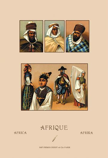 An Assortment of African Costumes 12x18 Giclee On Canvas