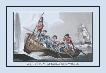 A Ship's Boat Attacking a Whale 12x18 Giclee On Canvas