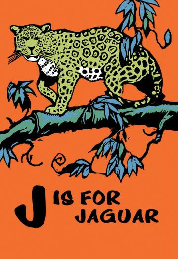 J is for Jaguar 12x18 Giclee On Canvas