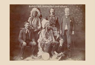 Buffalo Bill Sitting Bull and Others 12x18 Giclee On Canvas