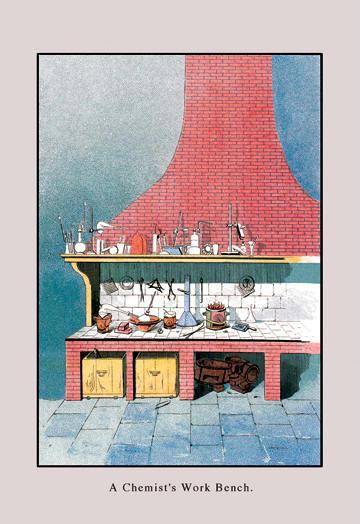 A Chemist's Workbench 12x18 Giclee On Canvas