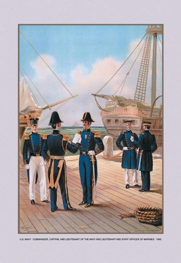 Navy Commander Captain and Lieutenant 12x18 Giclee On Canvas