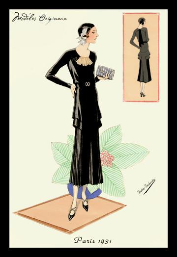 Modeles Originaur: Layered Black Dress 12x18 Giclee On Canvas