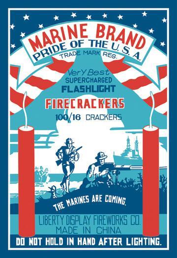 Marine Brand Firecrackers 12x18 Giclee On Canvas