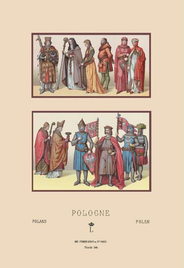 A Variety of Polish Costumes 1200-1399 12x18 Giclee On Canvas