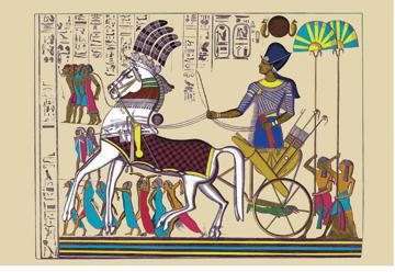 Ramses III Returning with his Prisoners 12x18 Giclee On Canvas