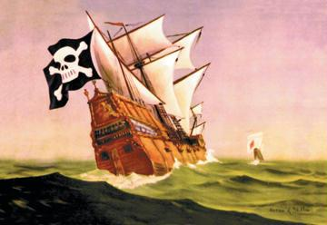 A Pirate Ship With Sails All Set 12x18 Giclee On Canvas