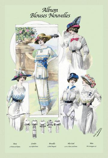 Album Blouses Nouvelles: Ladies in Flowered Hats 12x18 Giclee On Canvas