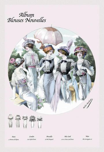 Album Blouses Nouvelles: Five Springtime Fashions 12x18 Giclee On Canvas