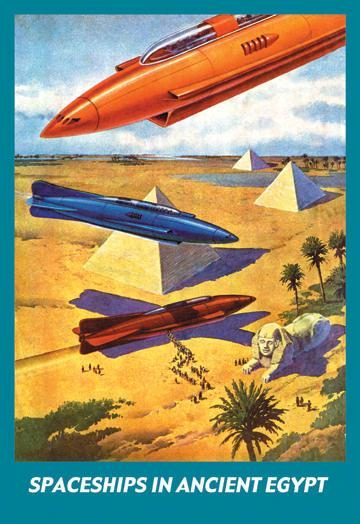 Spaceships in Ancient Egypt 12x18 Giclee On Canvas