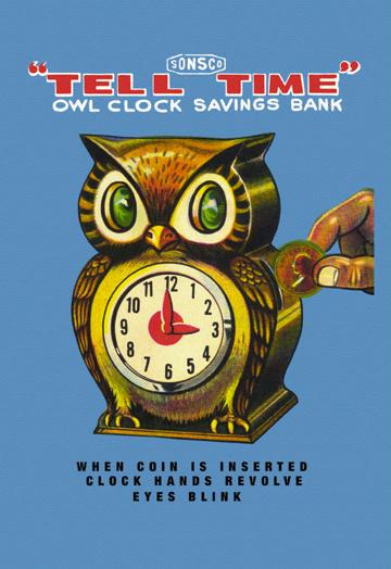 Tell Time Owl Clock 12x18 Giclee On Canvas
