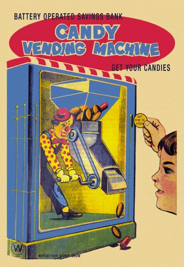 Candy Vending Machine 12x18 Giclee On Canvas