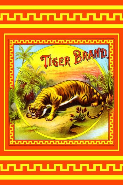 Tiger Brand Tobacco Label 12x18 Giclee On Canvas