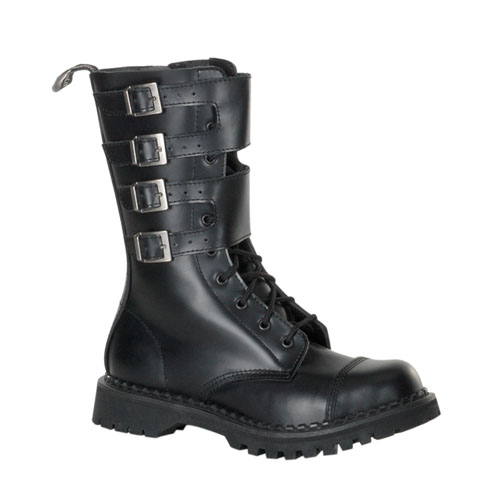Demonia Attack-10 10 Eyelette Black Leather Steel Toe Calf Boot With 4 Buckles Size 4