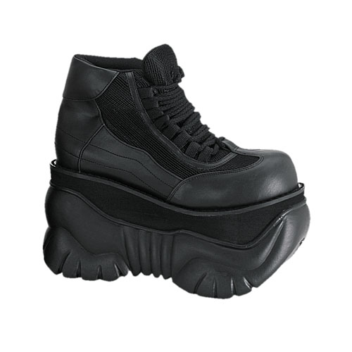 Demonia Boxer-01 4 Inch Platform Black Pump Laceup Sneaker Shoes Size 10
