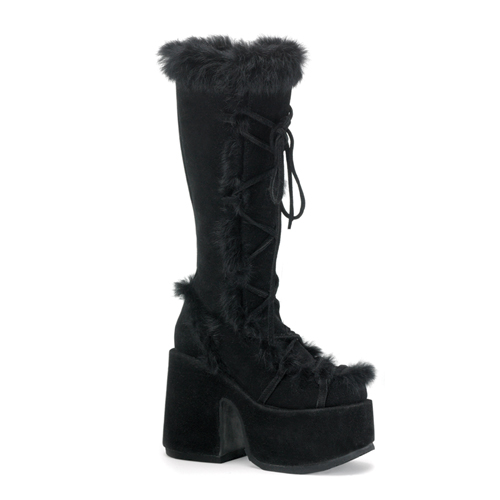 Demonia Camel-311 5 Inch Heel Black Imitation Suede Faux Fur Trimed Knee Boot Size 6