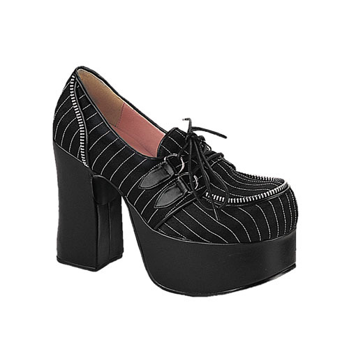 Demonia Charade-12 4.5 Inch Black Satin White Pinstripe D-Ring Laceup Mary Jane Size 6
