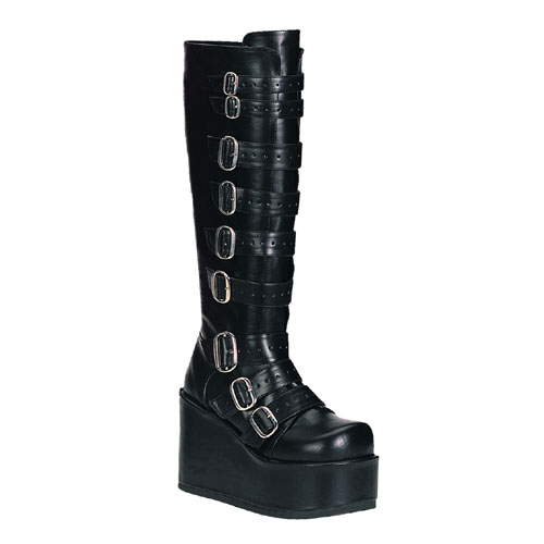 Demonia Concord-108 4.25 Inch Buckled Platform Black Puknee Boots Size 10