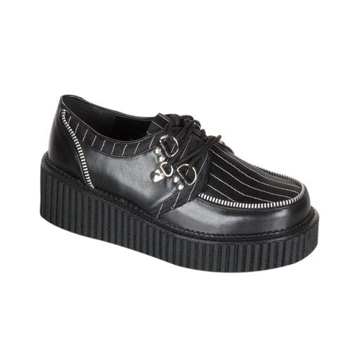 Demonia Creeper-113 2 Inch Platform Black Pump Pinstripe Shoe With Zipper Trim Size 6