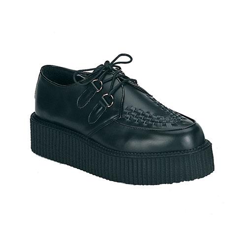 Demonia Creeper-402 2 Inch Platform Black Leather Basic Creeper Shoe Size 12