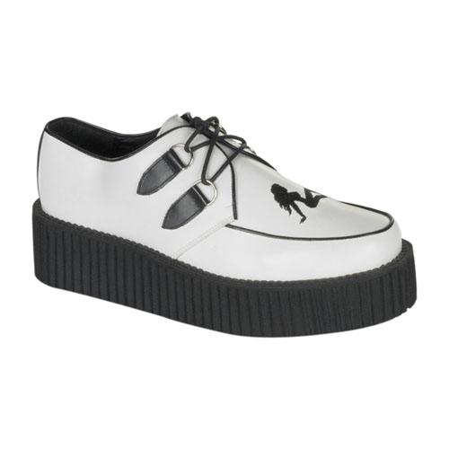 Demonia Creeper-430 2 Inch Platform White Leathertrucker Girl Creeper Shoe Size 5