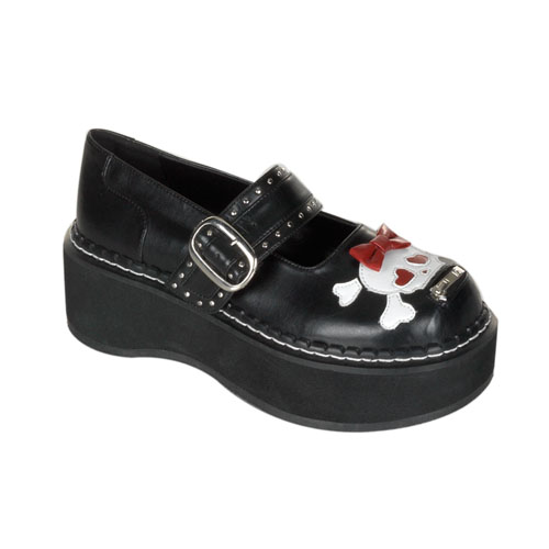 Demonia Emily-221 2 Inch Platform Black Pump Mary Jane Shoe With Bow Skull Head Size 6