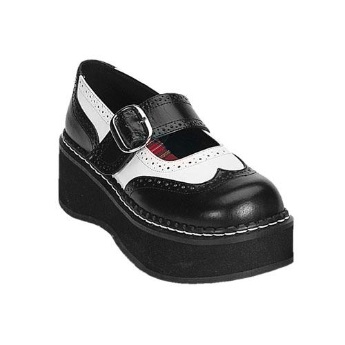 Demonia Emily-302 2 Inch Black White Pump Platform Mary Jane Shoe Size 8