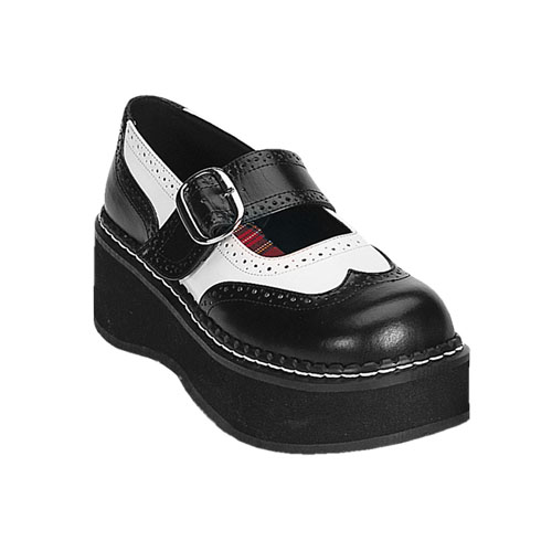 Demonia Emily-302 2 Inch Black White Pump Platform Mary Jane Shoe Size 9