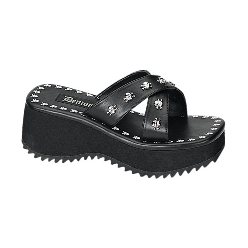 Demonia Flip-05 2.5 Inch Skull Print & Studs Black Pump Sandal Size 11