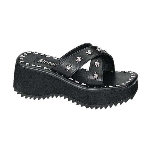 Demonia Flip-05 2.5 Inch Skull Print & Studs Black Pump Sandal Size 7