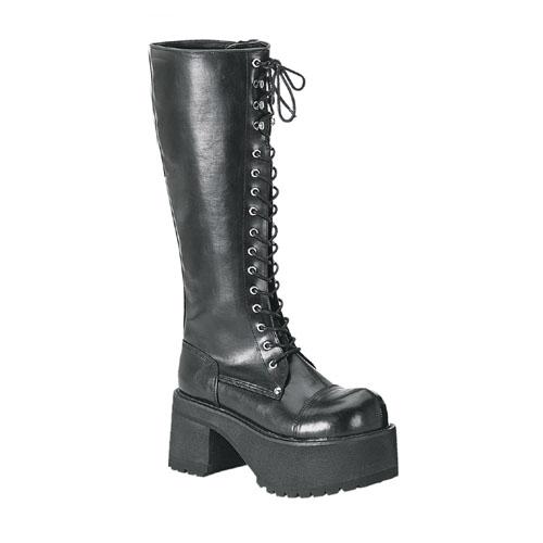Demonia Ranger-302 3.5 Inch Platform Black Pump Knee Boots Size 6