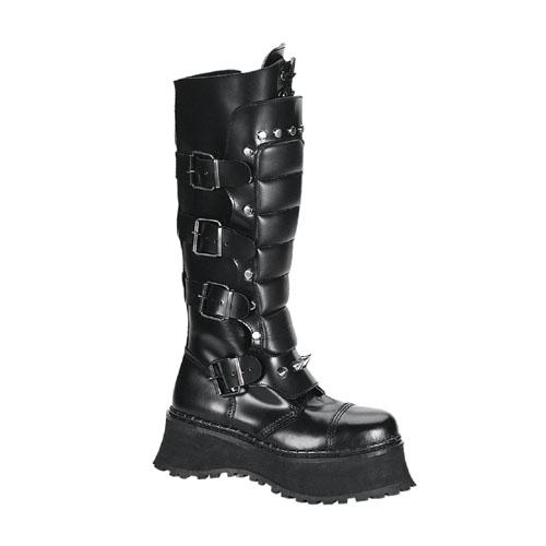 Demonia Ravage-Ii Buckled Steel Toe Black Leather Warrior Boots Size 5