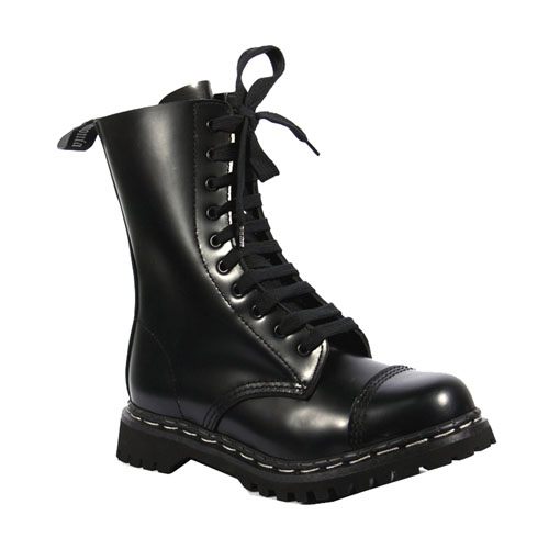 Demonia Rocky-10 10 Eyelet Steel Toe Black Leather Calf Boots Size 12