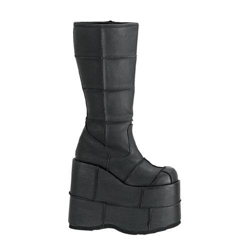 Demonia Stack-301 7 Inch Platform Patched Black Pump Knee Boot Size 4