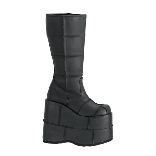 Demonia Stack-301 7 Inch Platform Patched Black Pump Knee Boot Size 5
