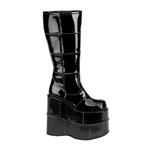 Demonia Stack-301 7 Inch Platform Patched Black Pat Knee Boot Size 5