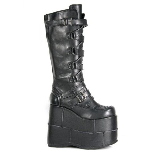 Demonia Stack-308 7 Inch Zip-Zag Strap Platform Black Pump Knee Boot Size 12