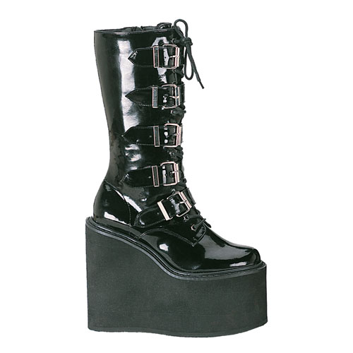 Demonia Swing-220 5.75 Inch 5 Buckle Platform Black Pat Calf Boot Size 8