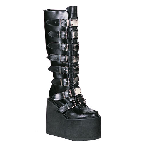 Demonia Swing-815 5.5 Inch Metal Plates Black Pump Knee Boot Size 10