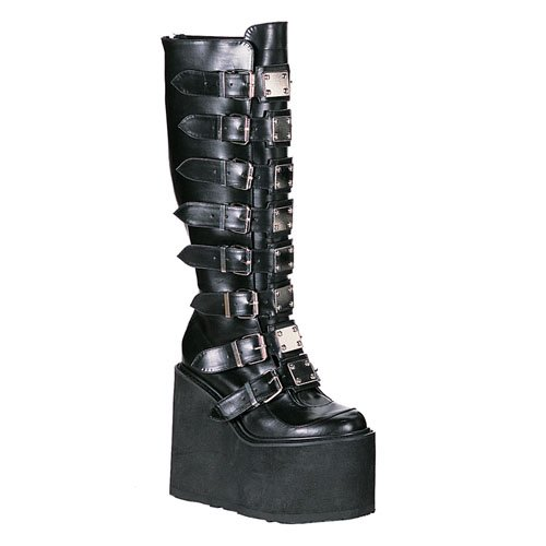Demonia Swing-815 5.5 Inch Metal Plates Black Pump Knee Boot Size 11