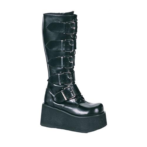 Demonia Trashville-518 3.25 Inch Platform 5 Buckled Black Pump Knee Boots Size 9