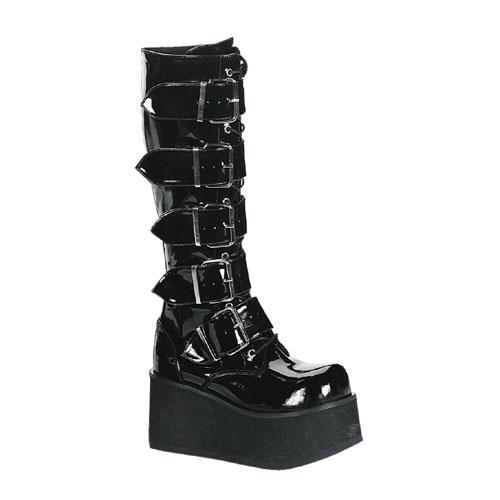 Demonia Trashville-518 3.25 Inch Platform 5 Buckled Black Pat Knee Boots Size 10