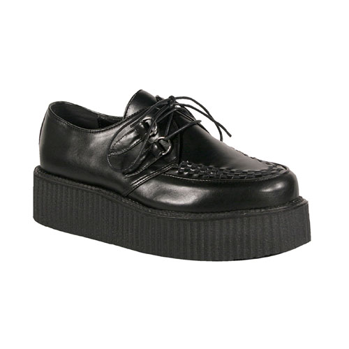 Demonia V-Creeper-502 2 Inch Platform Black Pump Basic Veggie Creeper Shoe Size 9