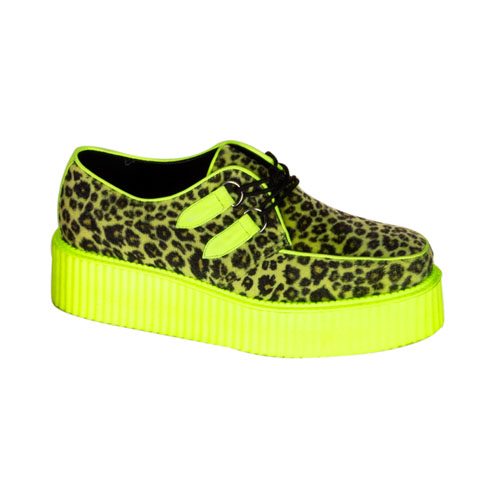 Demonia V-Creeper-507Uv 2 Inch Platform Uv Cheetah Veggie Creeper Shoes Size 14