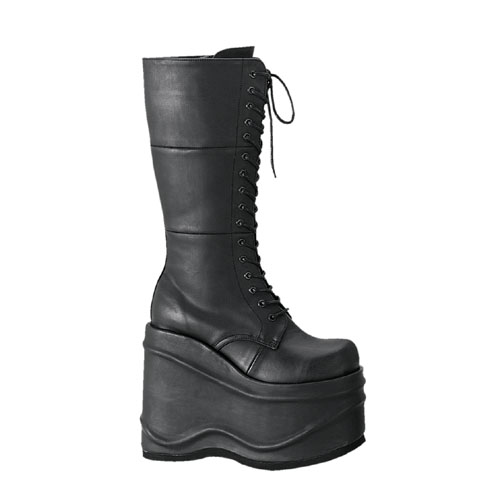 Demonia Wave-302 6 Inch Lace-Up Platform Black Pump Knee Boot Size 11