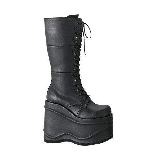 Demonia Wave-302 6 Inch Lace-Up Platform Black Pump Knee Boot Size 12