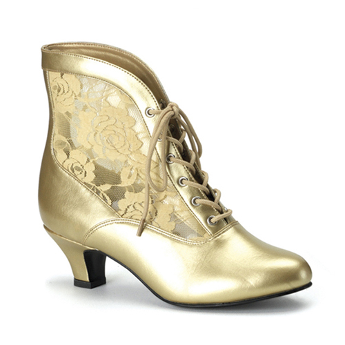 Funtasma Dame-05 Gold Pu-Lace Victorian Ankle Boot 2 Inch Si
