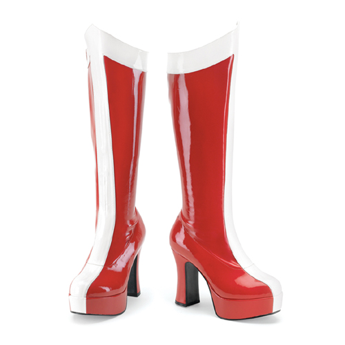 Funtasma Exotica-305 Red-White Stretch Pat Wonder Woman Boot 4 Inch Size 6